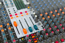 Analog Sound Mixer With Selected Focus. Professional Audio Mixing Console Radio And Television Broadcasting. Horizontal Shot.