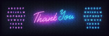 Thank You Neon Template. Neon Lettering Banner Thank You