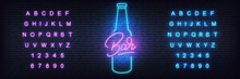 Beer Neon Template. Glowing Le...