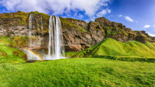 Fantastic Seljalandsfoss Waterfall In Iceland During Sunny Day.