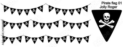 海賊旗(Jolly Roger)のガーラーンドのベクターデータ(bunting garland) Canvas Print