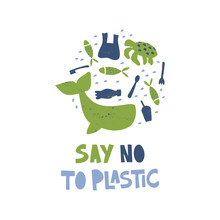 Say No To Plastic Word Concept Banner
