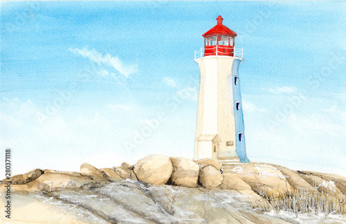 Photo Watercolor picture of  lighthouse in Peggy's Cove in  Canada