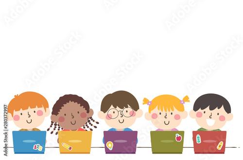 Cuadros en Lienzo Kids Students Group Laptop Illustration