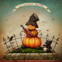 Festive Greeting Card Or Poster With Pumpkin And Teddy Bear Playing The Violin And Drum For Congratulating Halloween.