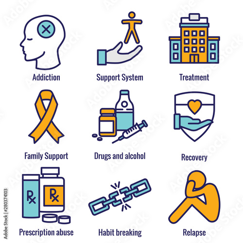 Drug & Alcohol Dependency Icon Set - support, recovery, and treatment Canvas Print