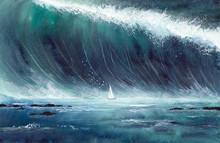 Watercolor Picture Of A Sailin...
