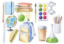 Watercolor School Set Illustration Isolated On White Background. Kids Hand Drawn Illustration.