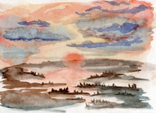 Watercolor Illustration Of A Misty Sunset In A Forest With River Reflection