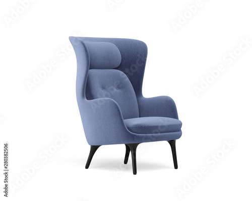 Photo 3d rendering of an Isolated modern wingback armchair