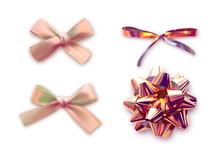 Gift Bows Color Beige Realistic Design. Isolated Bows With Ribbons And Shadow.