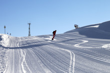 Snowboarder Descends On Snowy ...