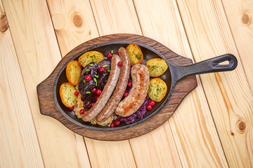 sausage with baked potatoes...