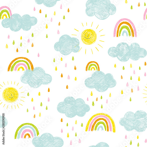 obraz dibond Doodle kids pattern with clouds, rain drops and rainbows. Cute hand drawn seamless background in blue, pink, yellow and orange.