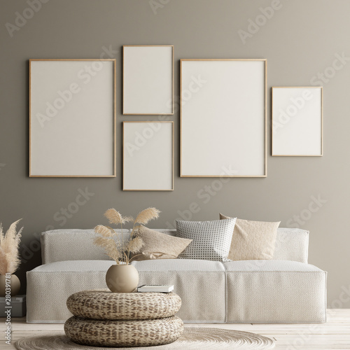 Mock up poster in home interior with minimal decor, Scandinavian concept, 3D render