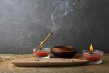 Incense Stick And Smoke From Incense Burning. Beautiful Smoke. Aromatherapy