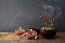 Burning Aromatic Incense Sticks. Incense For Praying Buddha Or Hindu Gods To Show Respect.