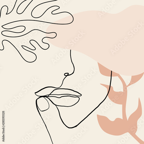 Continuous line, drawing of woman face, fashion concept, woman beauty minimalist with geometric doodle Abstract floral elements pastel colors. One line continuous drawing. vector illustration