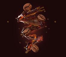 Fresh Hot Aroma Black Coffee, Espresso, Americano 3D Splash With Flying Roasted Arabica Or Robusta Coffee Beans. Ad Poster Design, Layout On Dark Background. Liquid Drink Label, Banner Design Element
