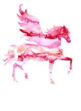 Watercolor Unicorn Silhouette Painting With Ink Texture Isolated On White Background. Cute Magic Creature Illustration In Rainbow Colors.