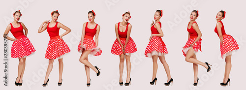 Fototapeta set of smiling pin up woman in polka dot red dress