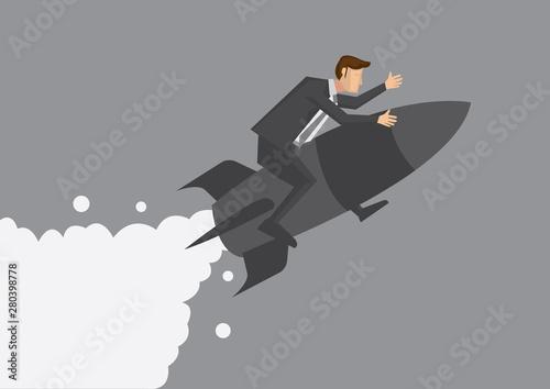 Cuadros en Lienzo Businessman Flying on Rocket Vector Illustration
