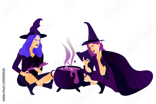 Fototapety, obrazy: Halloween holiday greeting card. Young witches cooks a magical potion. Vector Illustration. Trick or Treat Concept.