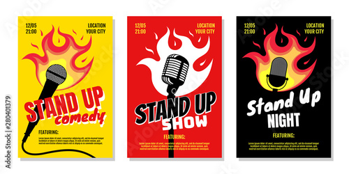 Fotografie, Obraz  Stand up club comedy night live show A3 A4 poster design templates