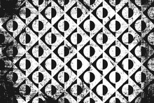 Grunge Abstract Geometric Pattern. Horizontal Black And White Backdrop.