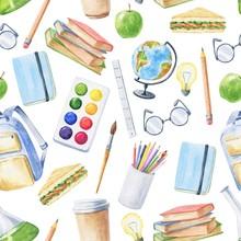 Watercolor School Seamless Pat...