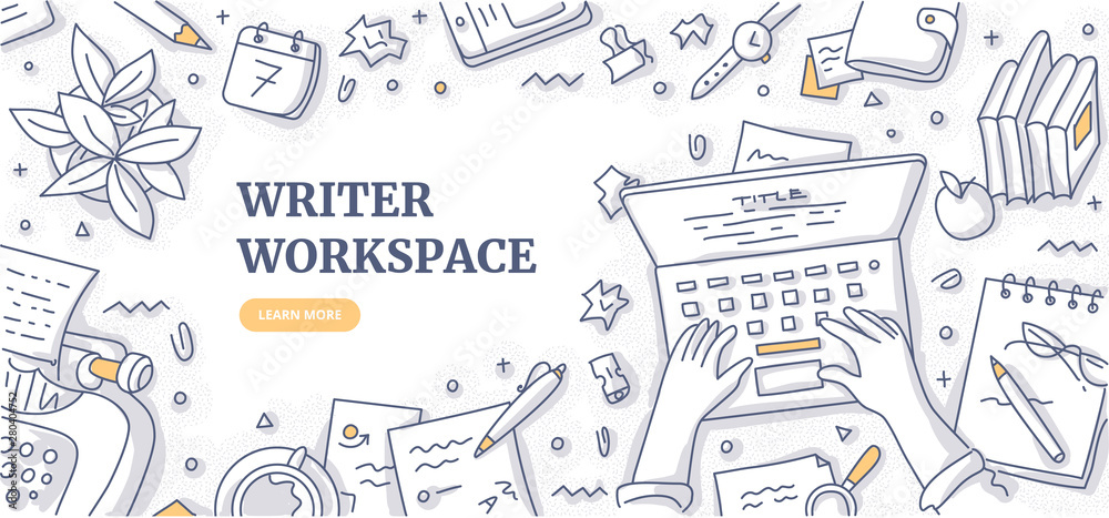 Fototapety, obrazy: Writer Workspace Doodle Background Concept