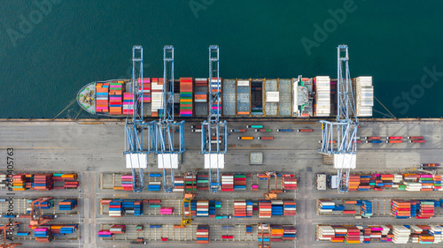 Foto auf Leinwand Shanghai Aerial view container ship carrying container in import export business logistic and transportation of international by container ship in the open sea, with copy space.