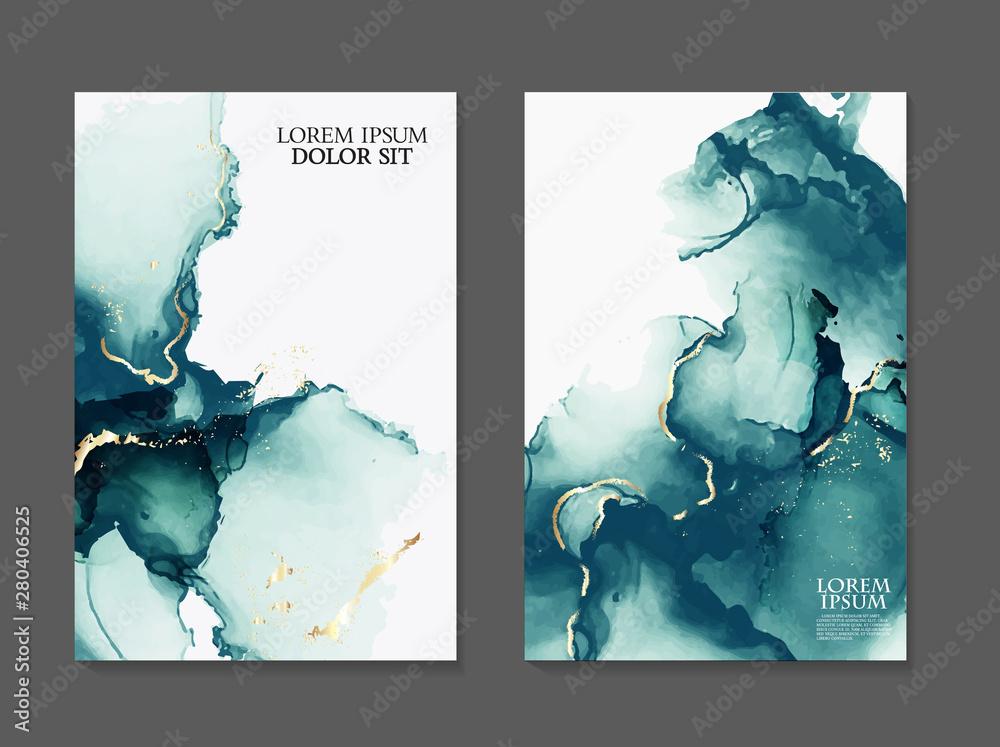 Fototapeta Marble card presentation, flyer,  invitation card template design, green, blue tender decoration isolated on white  background, vintage style decoration 2019