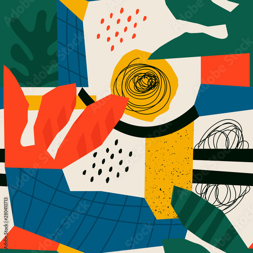 Hand drawn various shapes and leaves, spots, dots and lines. Different colors. Abstract contemporary seamless pattern. Modern patchwork illustration in vector