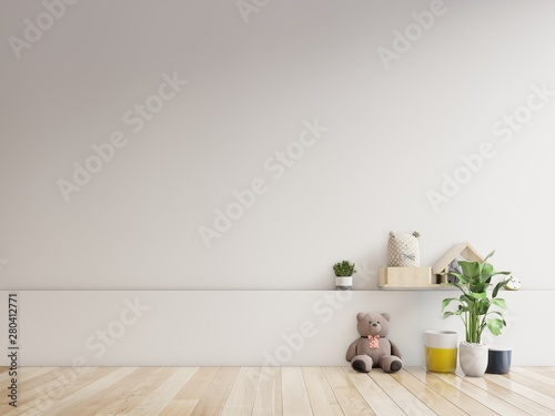 Teddy bear and rabbit doll in the children's room on wall background.3D Rendering