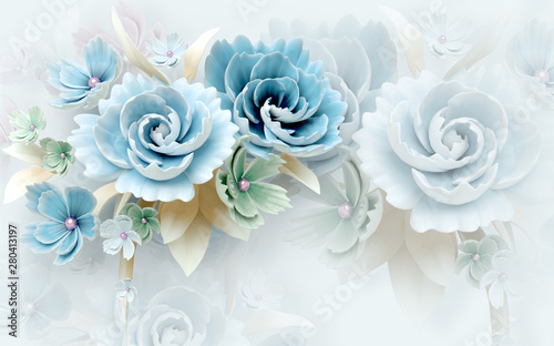 Fototapety na wymiar   3d-mural-wallpaper-abstract-background-with-white-and-blue-flowers