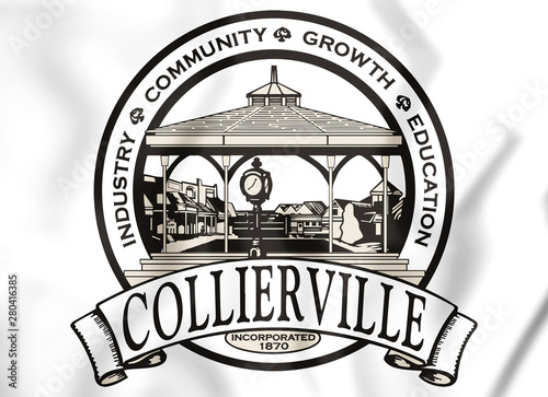 Photo  3D Seal of Collierville (Tennessee), USA. 3D Illustration.