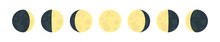 Moon Phases Flat Icon Illustra...