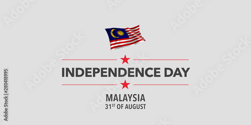 Fotomural  Malaysia happy independence day greeting card, banner, vector illustration