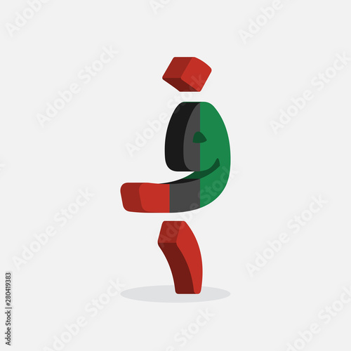 Afghani Currency Symbol with Flag of Afghanistan Wallpaper Mural