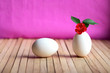 canvas print picture - Chicken egg with a growing and flowering geranium plant inside it as a symbol of interaction, search for unusual solutions and prosperity.