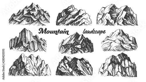 Collection Mountain Landscape Set Vintage Vector Different