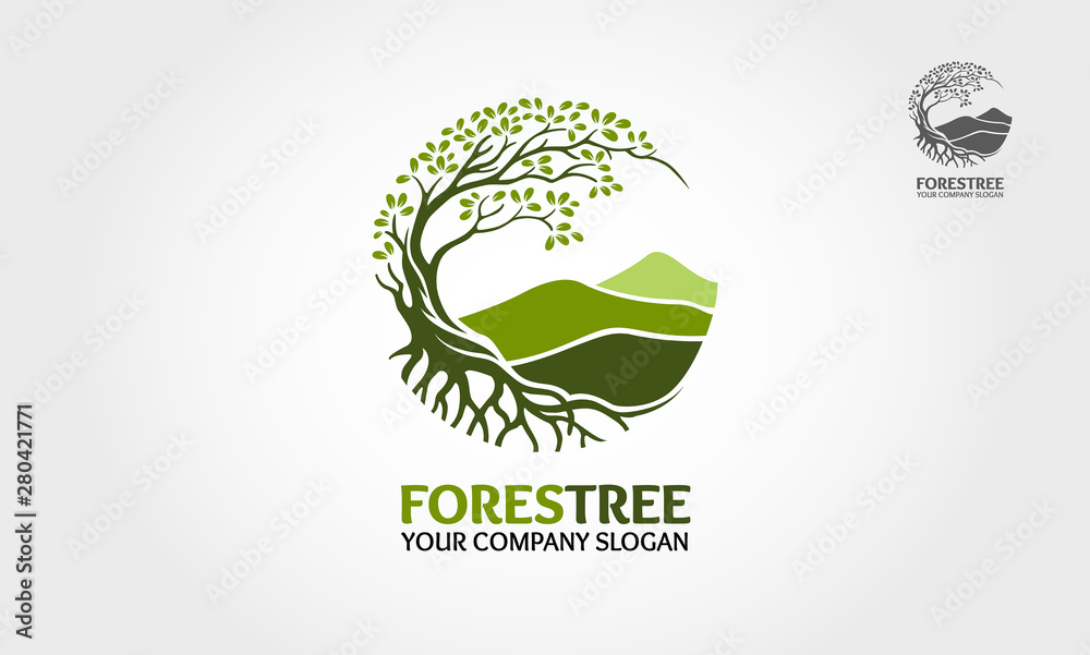 Fototapety, obrazy: Forest Tree vector logo. Tree and mountain vector design elements original, that were created to highlight the growth, travel, spirit, mountain and lifestyle.