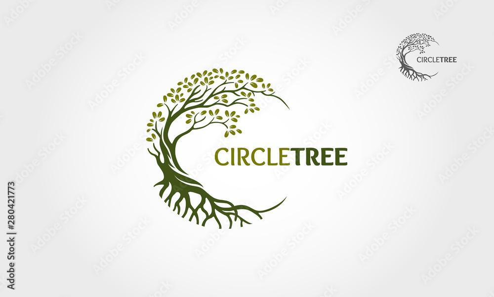 Fototapeta Circle Tree vector logo this beautiful tree is a symbol of life, beauty, growth, strength, and good health.