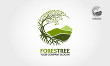 Forest Tree Vector Logo. Tree And Mountain Vector Design Elements Original, That Were Created To Highlight The Growth, Travel, Spirit, Mountain And Lifestyle.