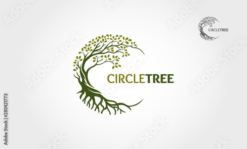 Cuadros en Lienzo  Circle Tree vector logo this beautiful tree is a symbol of life, beauty, growth, strength, and good health