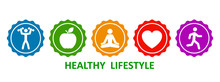Set Healthy Lifestyle Icons, B...