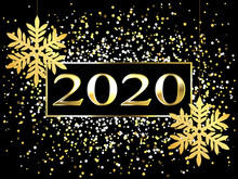 Plate With A Gold Frame, With Metal Numerals. 2020 New Year. Brilliant Snowflakes On The Thread, Highlights, Flashing Lights. For Design.