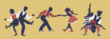 Horizontal Composition Of Three Couples. Set Of Pairs In 1940s Or 1950s Style Dancing Lindy Hop Or Boogie Woogie. Vector Illustration In Yellow, Blue And Red Colors.