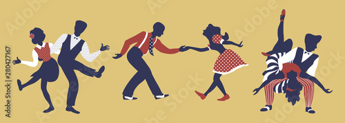 Fototapeta Horizontal composition of three couples. Set of pairs in 1940s or 1950s style dancing lindy hop or boogie woogie. Vector illustration in yellow, blue and red colors. obraz na płótnie